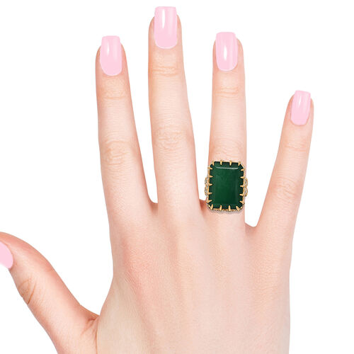 Verde Onyx (22x16 mm), Natural Cambodian Zircon Ring in 14K Gold Overlay Sterling Silver 20.000 Ct, Silver wt 9.03 Gms.