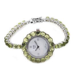 EON 1962 Hebei Peridot (25.25 Ct) Bracelet Watch (Size 7) in Platinum Overlay Sterling Silver, Silve