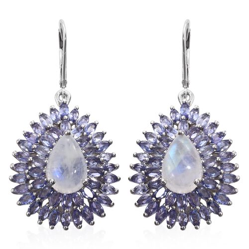 Sri Lankan Rainbow Moonstone (Pear), Tanzanite Drop Lever Back Earrings in Platinum Overlay Sterling Silver 16.000 Ct. Silver wt 9.94 Gms. Number of Gemstone 94