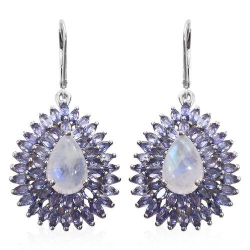 Sri Lankan Rainbow Moonstone (Pear), Tanzanite Drop Lever Back Earrings in Platinum Overlay Sterling
