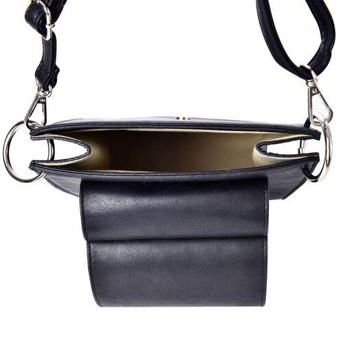 Black Colour Crossbody Bag with Adjustable and Removable Shoulder Strap (Size 27x20x7 Cm)