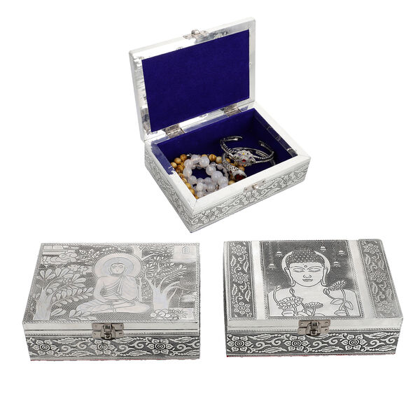 Set of 2 - Gautam Buddha and Tree of Life Embossed Storage Box (Size 17.7x12.7x5 Cm) with Velvet Lin
