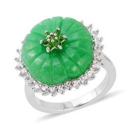 10.81 Ct Carved Green Jade and Multi Gemstone Flower Ring in Rhodium Plated Sterling Silver 5 Grams
