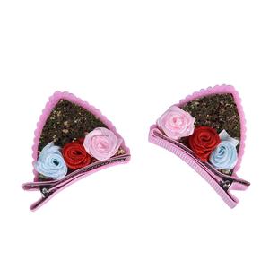2 Piece Set - Pink & Multi Colour Kids Hair Clips (Size 5x3.5 Cm)