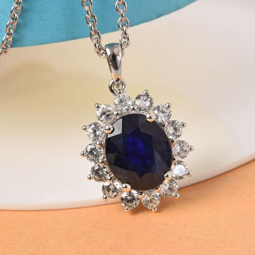 Masoala Sapphire and Natural Cambodian Zircon Halo Pendant with Chain in Platinum Overlay Sterling Silver 10.00 Ct.