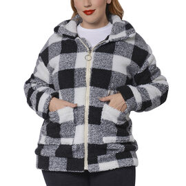 Black and White Checkered Pattern Faux Fur Coat with Pockets