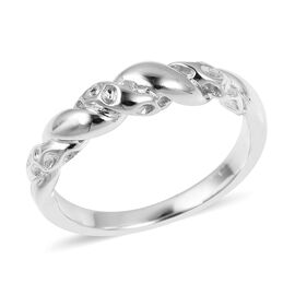 RACHEL GALLEY Rhodium Overlay Sterling Silver Twisted Lattice Ring 3.14 Gms.