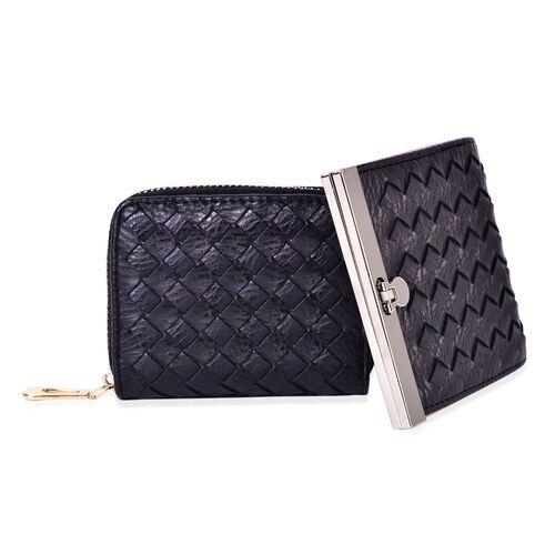 Set of 2 - Black Colour Weaving Pattern Wallet (Size 10x9 Cm) and Coin Bag (Size 10.5x2.5x8 Cm)