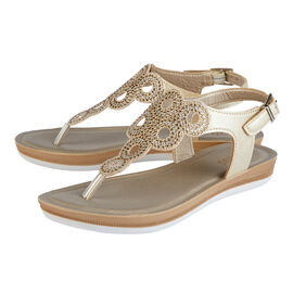 Lotus Milan Toe-Post Sandals in Gold Colour