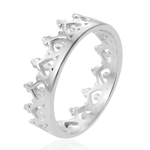 Designer Inspired- Sterling Silver Hearts Crown Ring, Silver wt 3.10 Gms.