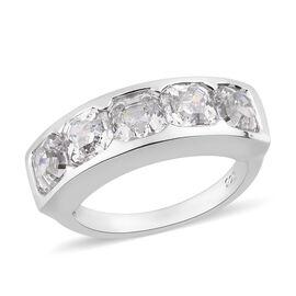 J Francis Platinum Overlay Sterling Silver Half Eternity Band Ring Made with SWAROVSKI ZIRCONIA 5.80