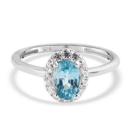 Ratanakiri Blue Zircon and Natural Cambodian Zircon Halo Ring in Platinum Overlay Sterling Silver 1.
