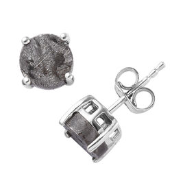 Tucson Special - Meteorite (Rnd) Stud Earrings (with Push Back) in Platinum Overlay Sterling Silver