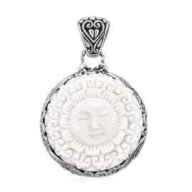Princess Bali Collection OX Bone Carved Face (Rnd) Dewi Ratih Pendant in Sterling Silver, Silver wt