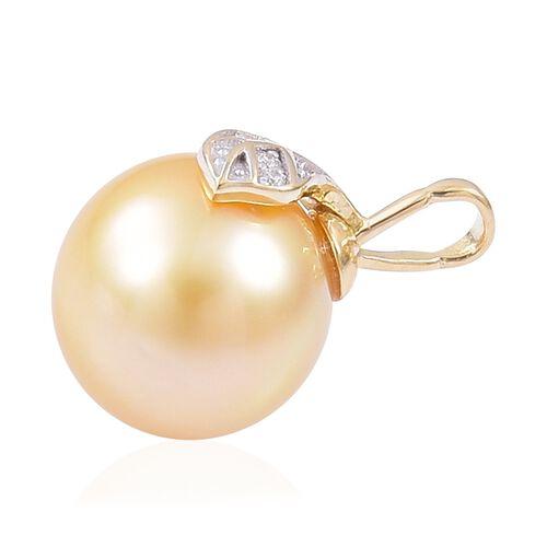 ILIANA 18K Yellow Gold AAA South Sea Golden Pearl (Rnd 10-10.5 mm), Diamond Pendant