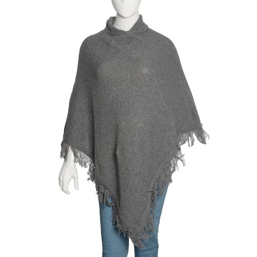 100% Australian Lamb Wool Grey Colour Knitted Poncho with Fringes (Free Size)