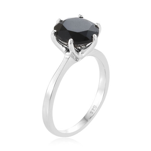 Black Tourmaline (Rnd) Solitaire Ring in Platinum Overlay Sterling Silver 2.500 Ct.
