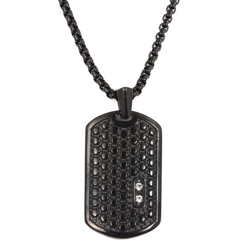 White Austrian Crystal (Rnd) Pendant With Chain (Size 24) in Black Plating Stainless Steel.
