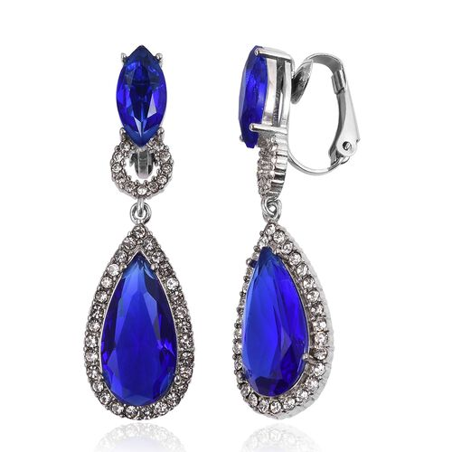 Simulated Blue Sapphire (Pear), White Austrian Crystal Drop Earrings in Stainless Steel