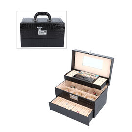 Three Layer Crocodile Skin Pattern Jewellery Box with Inside Mirror and Coded Lock (Size 33x21x19cm)