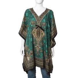 Teal Green Colour Tribal Printed V- neck Kaftan (One Size; 91.44x104.14 Cm)