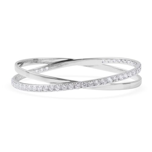 Isabella Liu Collection - Natural White Cambodian Zircon (Rnd) Bangle (Size 7) in Rhodium Overlay St