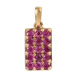 African Ruby (1.00 Ct) 14K Gold Overlay Sterling Silver Pendant  0.750  Ct.