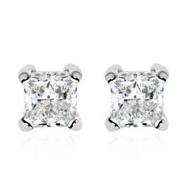 0.50 Ct Princess Cut Solitaire Stud Earrings with Push Back in 14K White Gold Diamond GH I1 I2