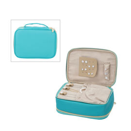 Portable Jewellery and Cosmetic Organiser with Zipper Closure (Size 24x17x9 Cm) - Teal