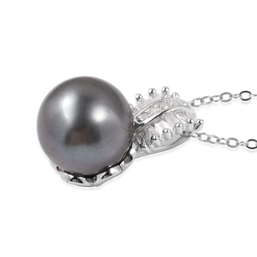 Tahitian Pearl (Rnd), Diamond Pendant With Chain in Rhodium Overlay Sterling Silver (11 - 11.5mm)