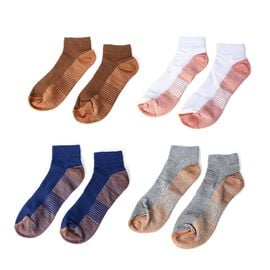 Set of 4 Pairs  - Copper Infused Compression Socks (Size L/XL, 8-12 UK) - White,Blue,Grey and Brown