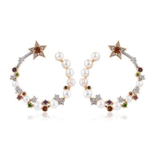 GP Fresh Water Pearl (Rnd), Multi Gemstone Earrings (with Push Back) in 14K Gold Overlay Sterling Silver 7.000 Ct, Silver wt 6.52 Gms.