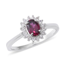 Designer Inspired- Rhodolite Garnet (Ovl), Natural Cambodian White Zircon Halo Ring in Rhodium Overlay Sterling Silver 1.270 Ct.