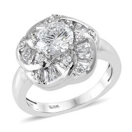 J Francis - Platinum Overlay Sterling Silver ( Rnd) Ring Made With SWAROVSKI ZIRCONIA