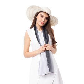 Black and White Colour Stripe Pattern Scarf (Size 155x50 Cm) with Hat (Size 41x11 Cm)