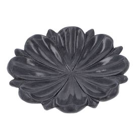 NAKKASHI Hand Carved Lotus-Design Marble Bird Feeder/Bath Bowl - Black