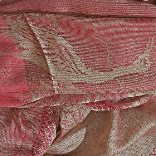Golden, Burgundy and Pink Colour Heron Bird and Tree Pattern Reversible Jacquard Scarf with Fringes (Size 190X70 Cm)