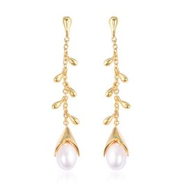 LucyQ Freshwater White Pearl Dangle Drip Earrings (with Push Back) in Yellow Gold Overlay Sterling S