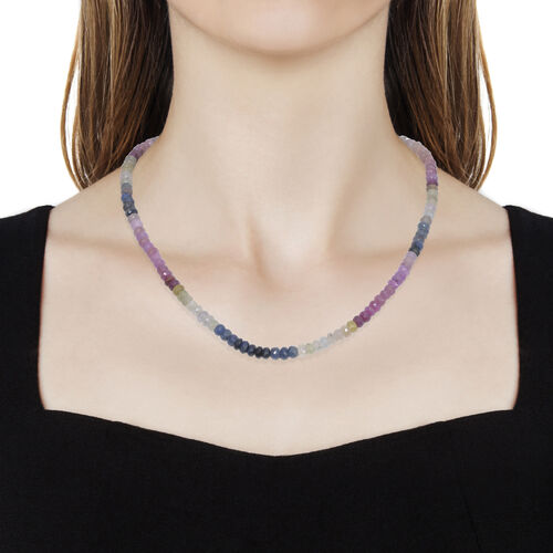 Rainbow Sapphire (Rnd) Beads Necklace (Size 18 with 2 inch Extender) in Platinum Overlay Sterling Silver 125.100 Ct.