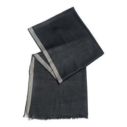 Black Colour Scarf with Lurex Border (Size 200x70 Cm)