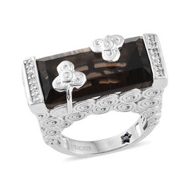 GP 10 Carat Brazilian Smoky Quartz and Multi Gemstone Solitaire Ring in Platinum Plated Silver