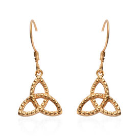 14K Gold Overlay Sterling Silver Celtic Knot Hook Earrings