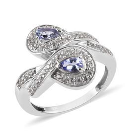 1.24 Ct Tanzanite and Zircon Cross Over Cluster Ring in Platinum Plated Sterling Silver