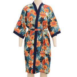 Designer Inspired- Red, White, Emerald Green and Multi Colour Flower Pattern Robe with Navy Blue Tri