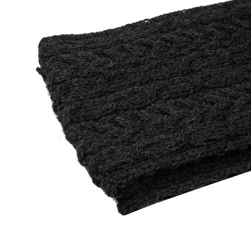 ARAN 100% Pure New Wool Irish Scarf in Charcoal Colour (Size One, 150x20cm)