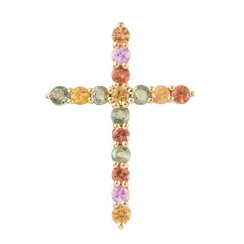 WEBEX- Rainbow Sapphire (Rnd) Cross Pendant in 14K Gold Overlay Sterling Silver 2.250 Ct