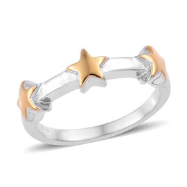 Yellow Gold and Platinum Overlay Sterling Silver Star Ring