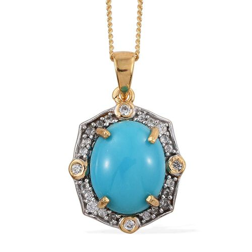 Arizona Sleeping Beauty Turquoise (Ovl 3.00 Ct), Natural Cambodian Zircon Pendant with Chain in 14K Gold Overlay Sterling Silver 3.500 Ct.