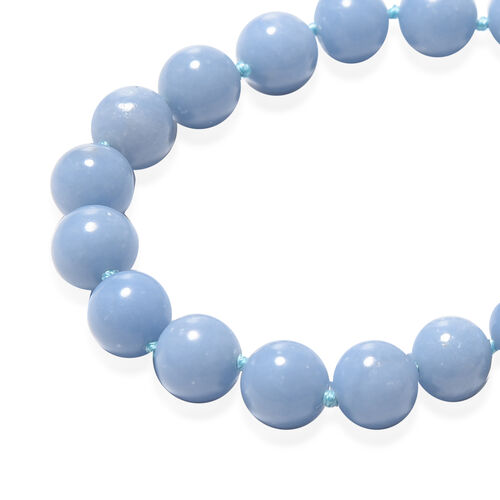 Machu Picchu Angelite Beads Necklace (Size 20) with Magnetic Lock in Rhodium Overlay Sterling Silver 348.50 Ct.