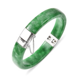 Green Jade Bangle (Size 7.5) in Rhodium Overlay Sterling Silver 157.50 Ct, Silver wt. 5.00 Gms